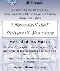 """I """"Mercoledì dell'Università Popolare"""" di Firenze"""
